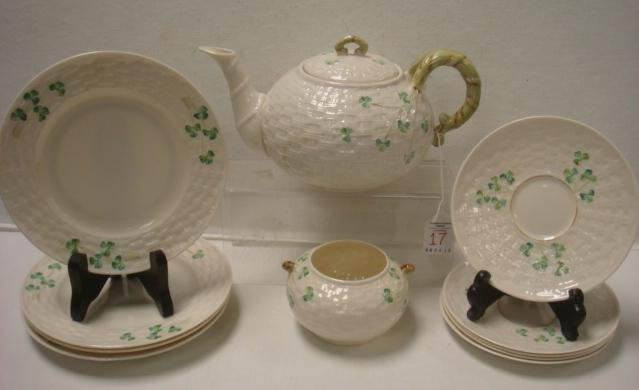 Irish BELLEEK Shamrock Partial Tea Set: