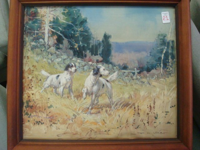 "Signed T.M. LAMB Watercolor ""Pair of Setters"":"