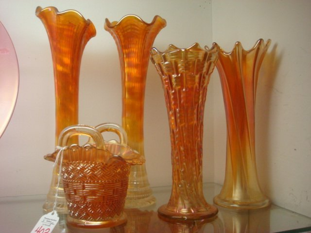 Five Marigold Carnival Glass Vases:
