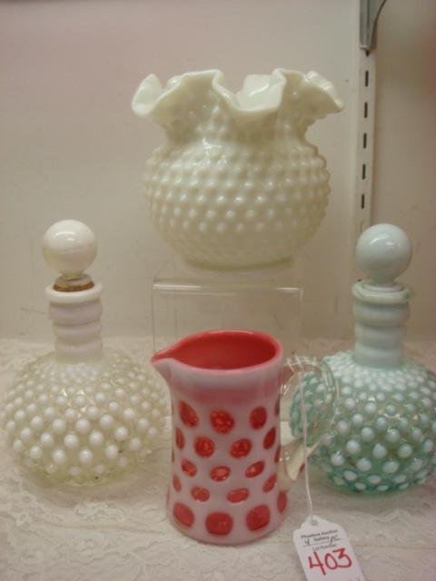 FENTON Glass Cologne Bottles, Vase and Creamer: