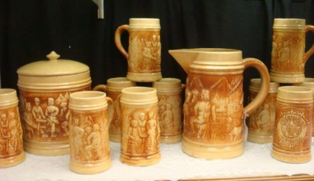 Set of HULL Pottery, Pitcher, Tankards, Canister:
