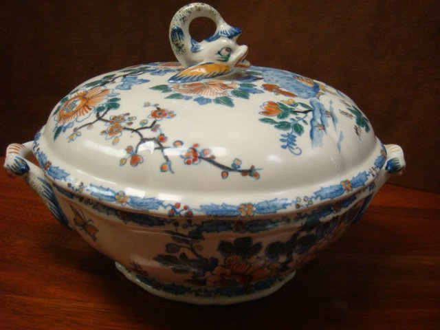 GIEN France Double Handled Lidded Vegetable Bowl: