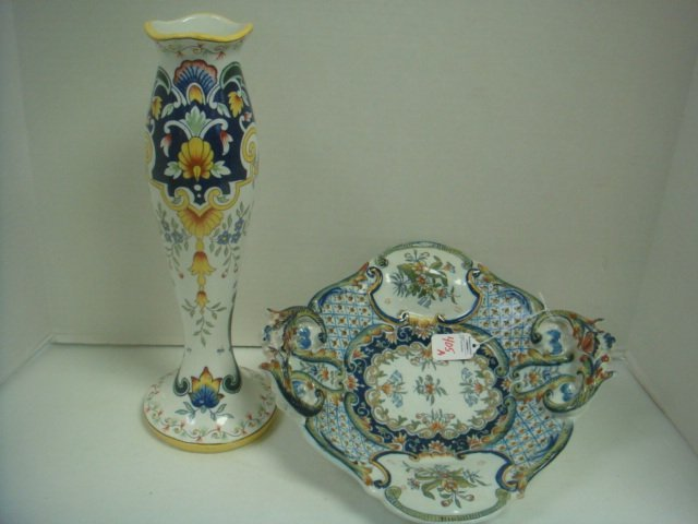 Faience Footed Bowl and Vase: