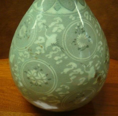 Korean Koryo Style Celadon High Necked Vase: - 2
