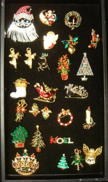 Collection of Christmas Costume Jewelry Pins: