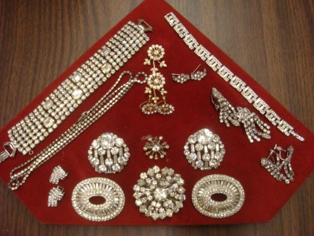 Array of Ladies Costume Rhinestone Jewelry:
