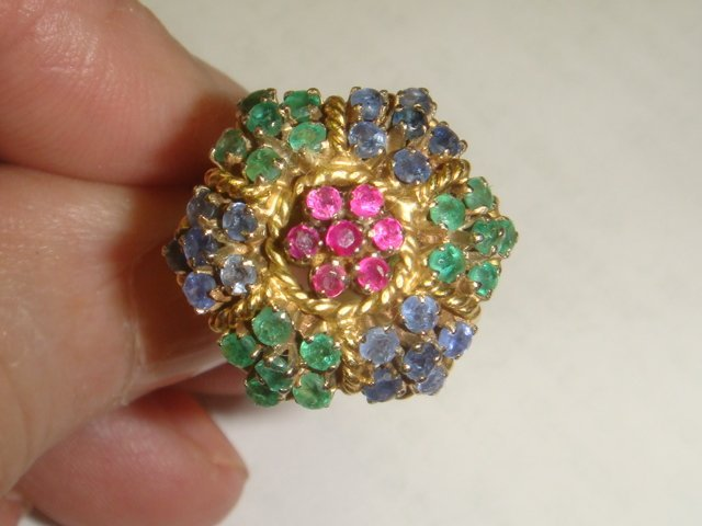 18K Yellow Gold Floraform Cluster Cocktail Ring: