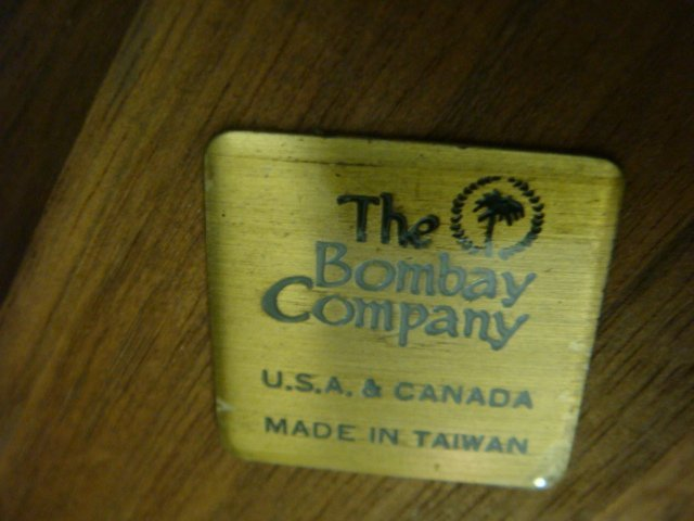 BOMBAY CO Mahogany 3 Drawer Sofa Table: - 3