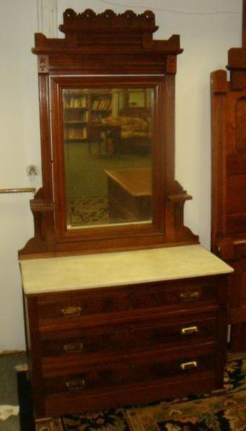 Three Piece Walnut Eastlake Bedroom Set: - 3