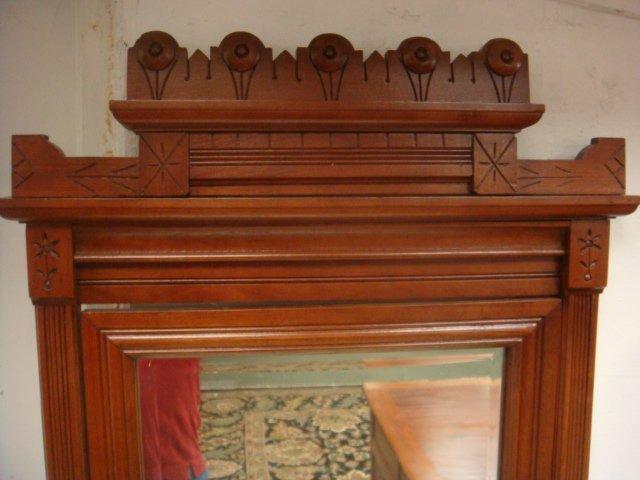 Three Piece Walnut Eastlake Bedroom Set: - 5