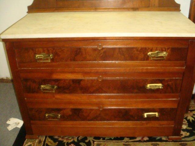 Three Piece Walnut Eastlake Bedroom Set: - 7
