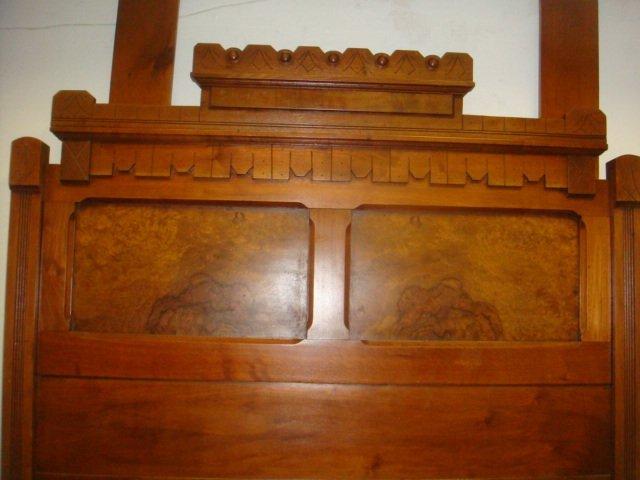 Three Piece Walnut Eastlake Bedroom Set: - 8