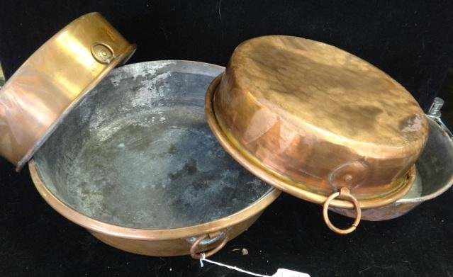 Four Vintage Copper Pans: