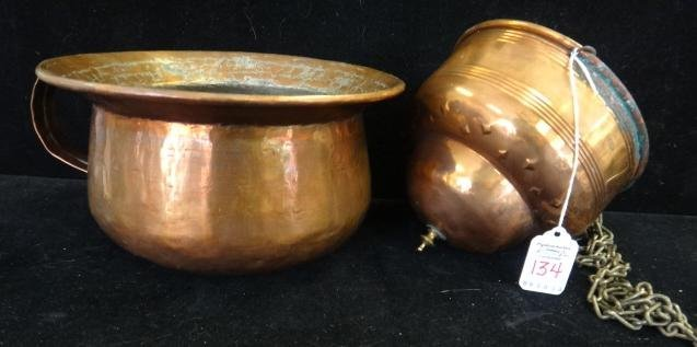 Primitive Hammered Copper Chamber Pot, Plant Holder: