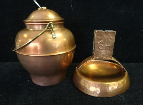 Swedish Hammered Copper Ashtray and Lidded Pot: