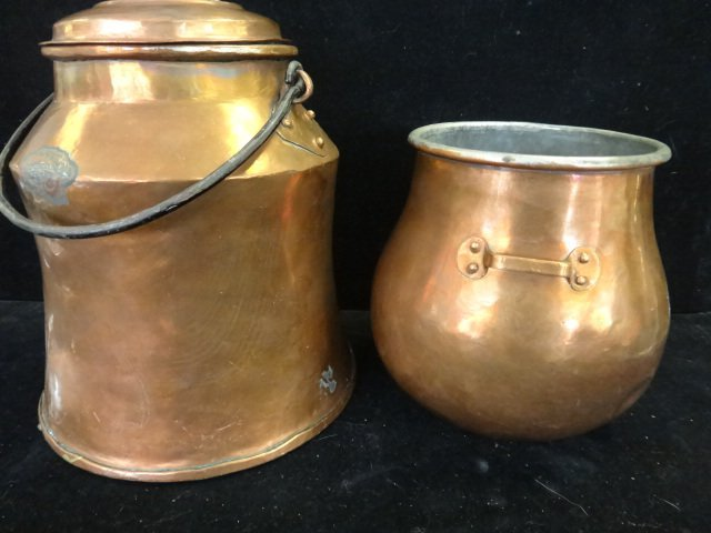 Two Vintage Hammered Copper Pots:
