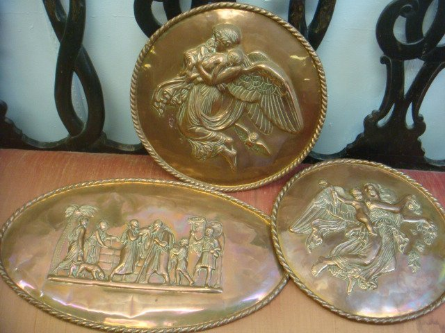 Three Handcrafted Copper Repousse Wall Plaques: