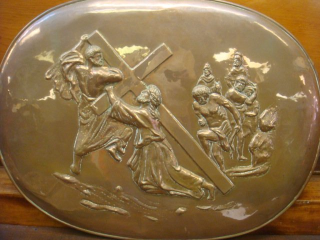 Religious Repousse Copper Wall Plaque: