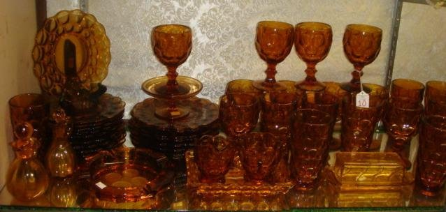 Assorted Amber Glass Tableware: