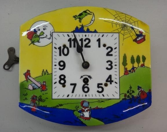 German Nursery Rhyme Key Wind Enamel Wall Clock: