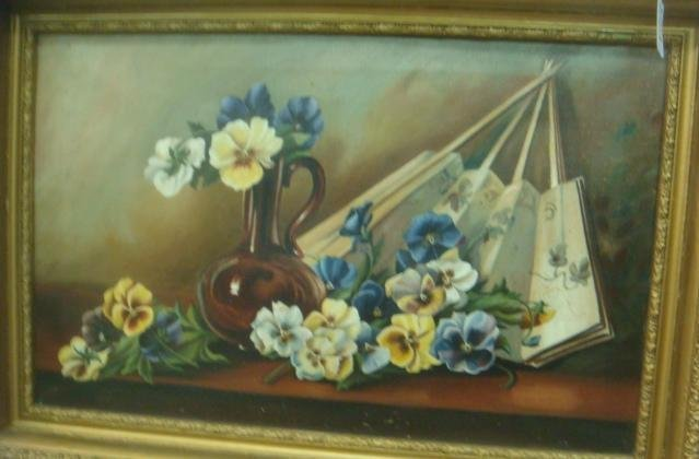 Still Life with Pansies Oil on Canvas:
