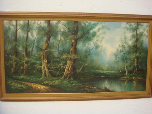 Woodland Landscape Oil on Canvas Signed WOLLINGER: