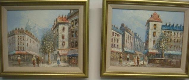 Two Oil on Canvas Street Scenes Signed BURNETT: