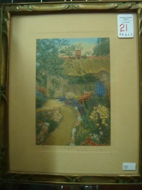 Framed WALLACE NUTTING Garden of Larkspur Photo Print: