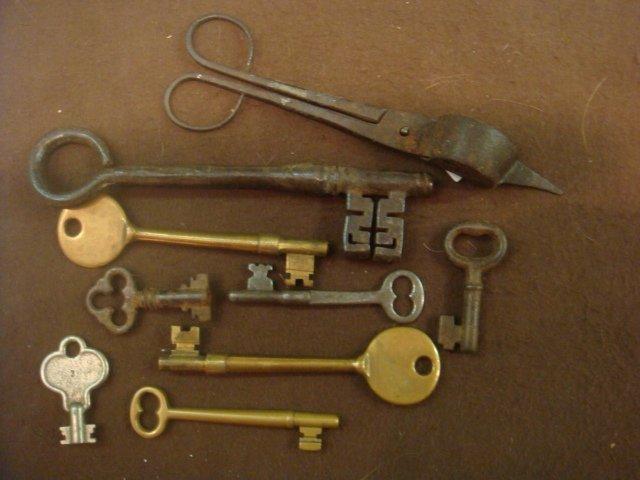 Eight Antique Skelton Keys and Scissors: