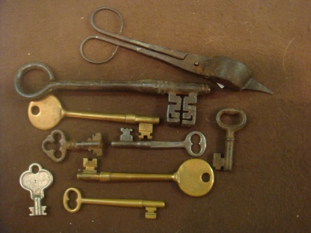 Eight Antique Skelton Keys and Scissors: