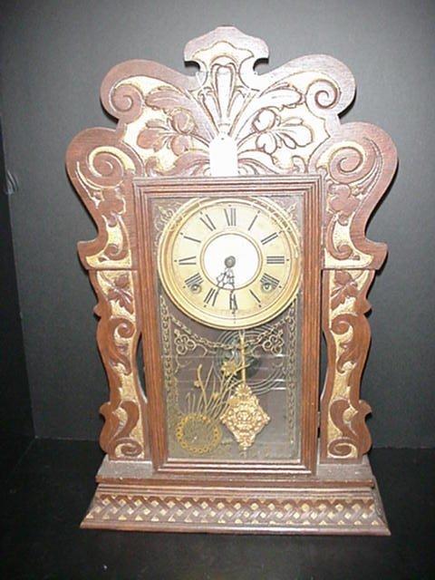 807: Sessions Carved Oak Kitchen Clock: