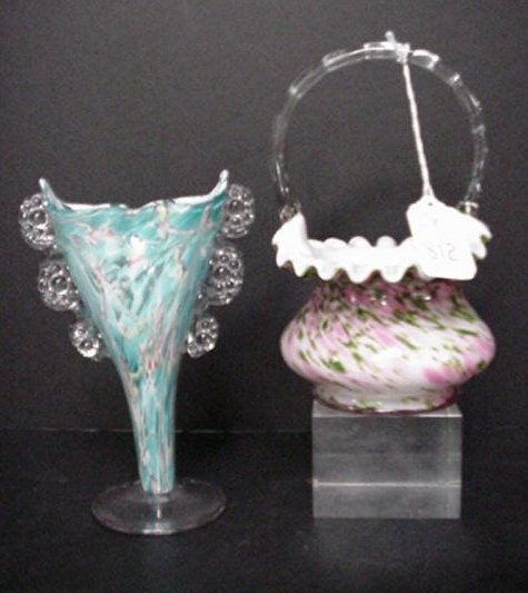 812: Fenton Rose Vase and Aventurine Green Ba