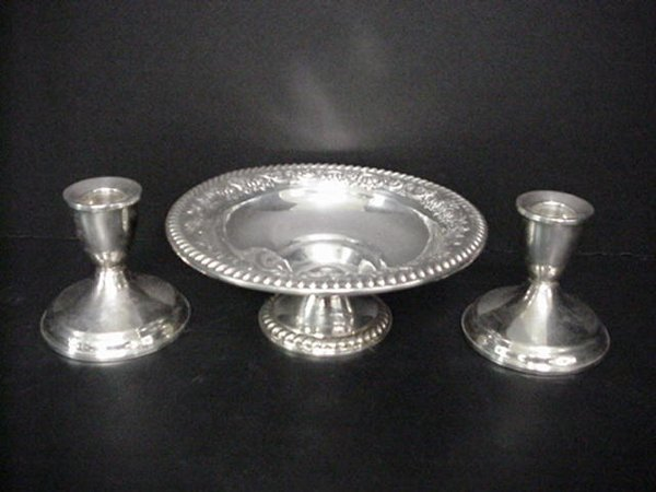 817: Sterling Compote, Bowl, Candlesticks: