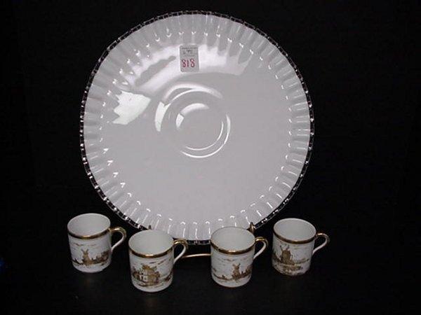 818: Fenton Cake Plate, Hobnail Vase and 4 Cu