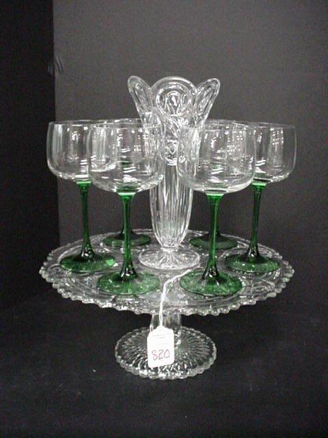 820: Glass Cake Stand, Vase & Green Base Wine
