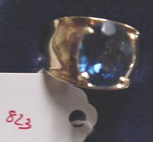 823: 10KT Wide Gold Band with Sapphire Blue S