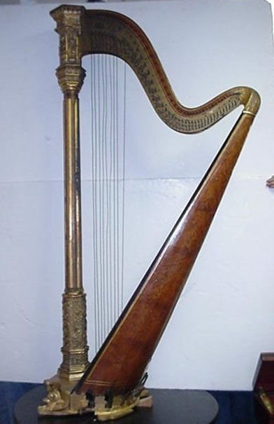 855A: 19th C. Greek Revival Figural  Harp:
