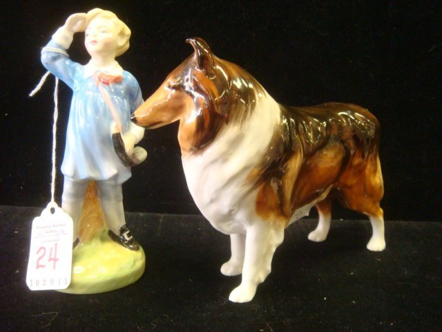 ROYAL DOULTON Little Boy Blue and Collie Figurines: