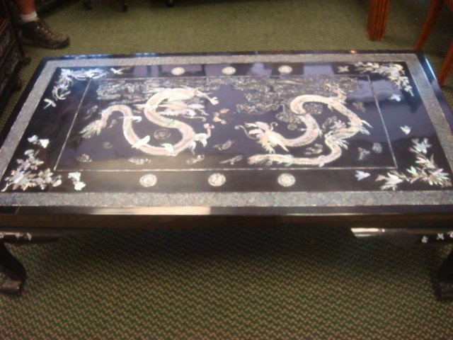 Korean Lacquer Mother Of Pearl Coffee Table: