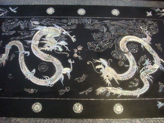 Korean Lacquer Mother of Pearl Coffee Table: - 2
