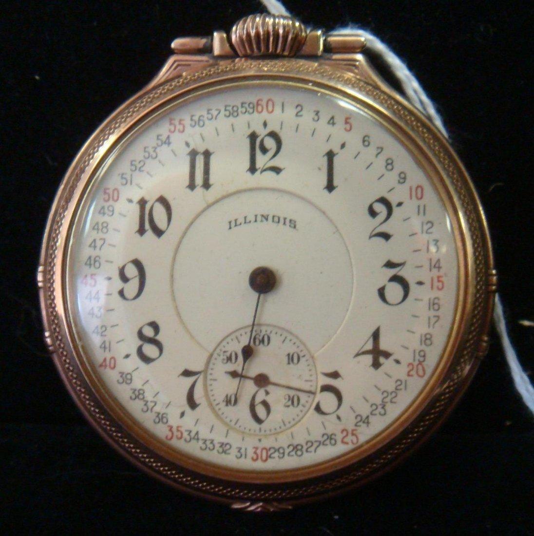 10KT Gold Filled Illinois Pocket Watch: