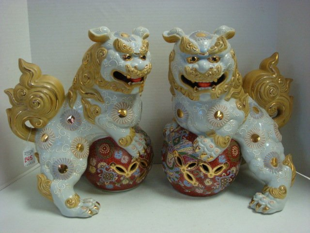 """Two Japanese Male Shishi 13 1/2""""T Temple Dogs:"""