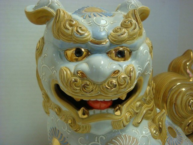 """Two Japanese Male Shishi 13 1/2""""T Temple Dogs: - 2"""