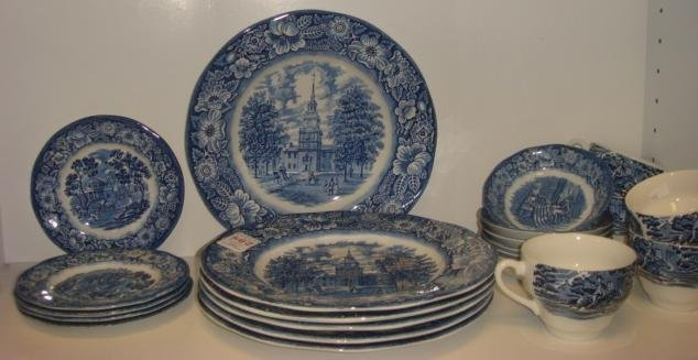 "STAFFORDSHIRE ""LIBERTY BLUE"" Dinnerware, 21 Pieces:"