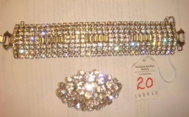 Clear Rhinestone Pin and Signed WEISS Bracelet: