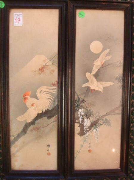 Two Asian Watercolors, Rooster and Dove: