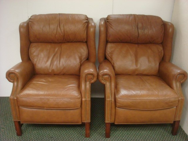 Two MOTIONCRAFT By Sherrill Leather Recliners: