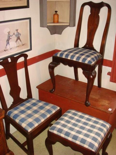 Two Vase Splat Chairs(One Henkel Harris) & Foot Stool: