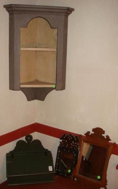 Colonial Style Corner Cabinet, Letter Box, 2 Mirrors: