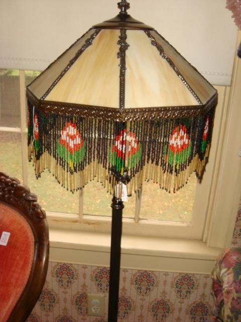 Beaded and Slag Glass Shade Floor Lamp: